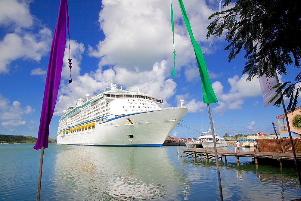 Cruise ship in port, St. Johns, Antigua, Leeward Islands, West Indies, Caribbean, Central America