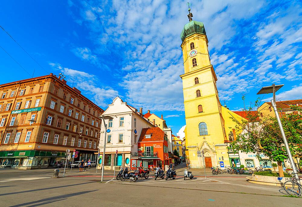 View of colourful Franciscan Church, Graz, Styria, Austria. Europe