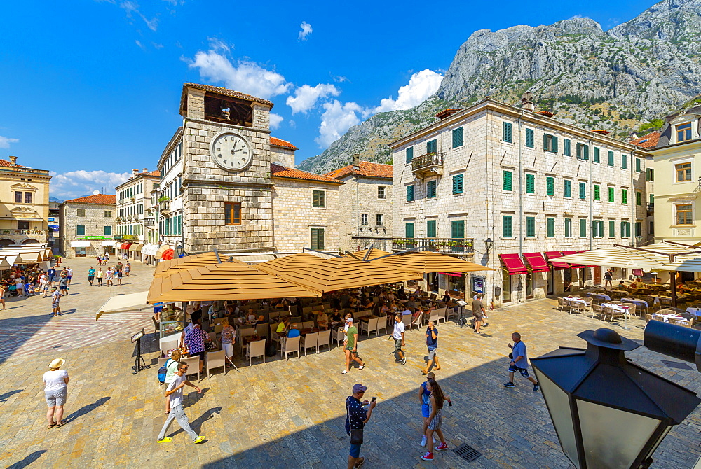 View of Old Town Clock Tower in the Old Town of Kotor, UNESCO World Heritage Site, Kotor, Montenegro, Europe