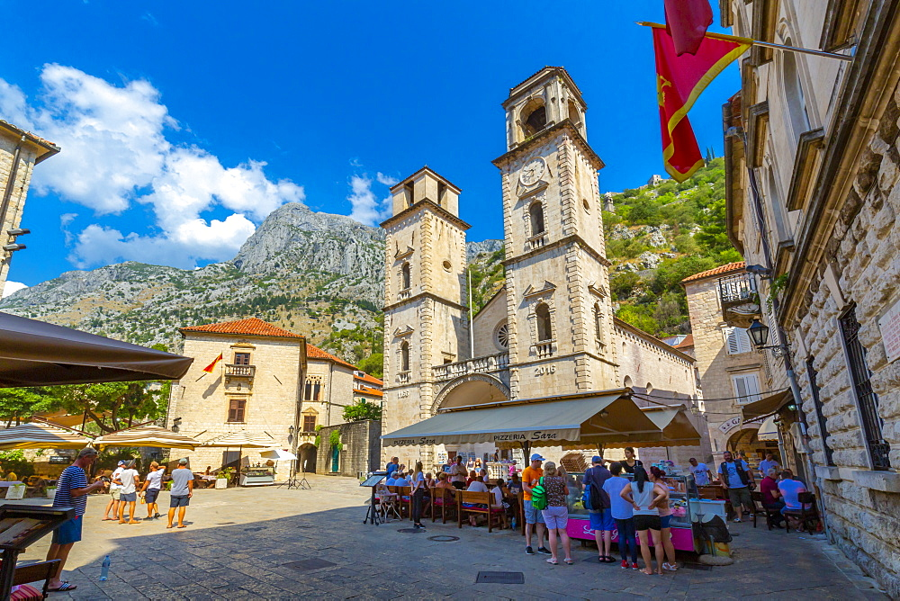 View of St. Tryphon Cathedral, Old Town, UNESCO World Heritage Site, Kotor, Montenegro, Europe