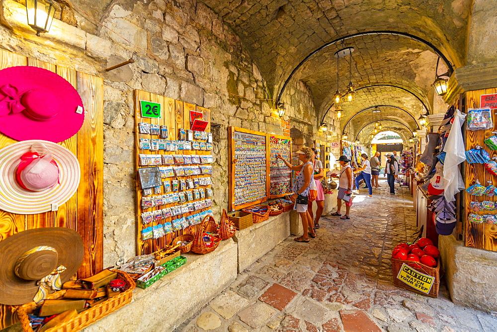 View of Old Town market stalls in Kotor, UNESCO World Heritage Site, Kotor, Montenegro, Europe - 844-21759