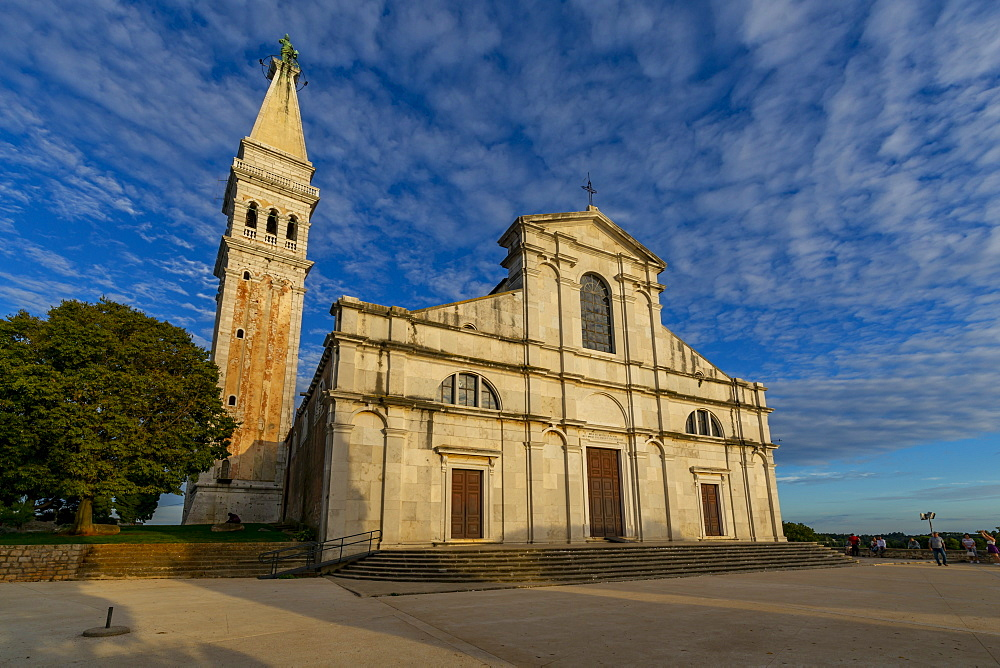View of Cathedral of St. Euphemia at sunset, Rovinj, Istria, Croatia, Adriatic, Europe