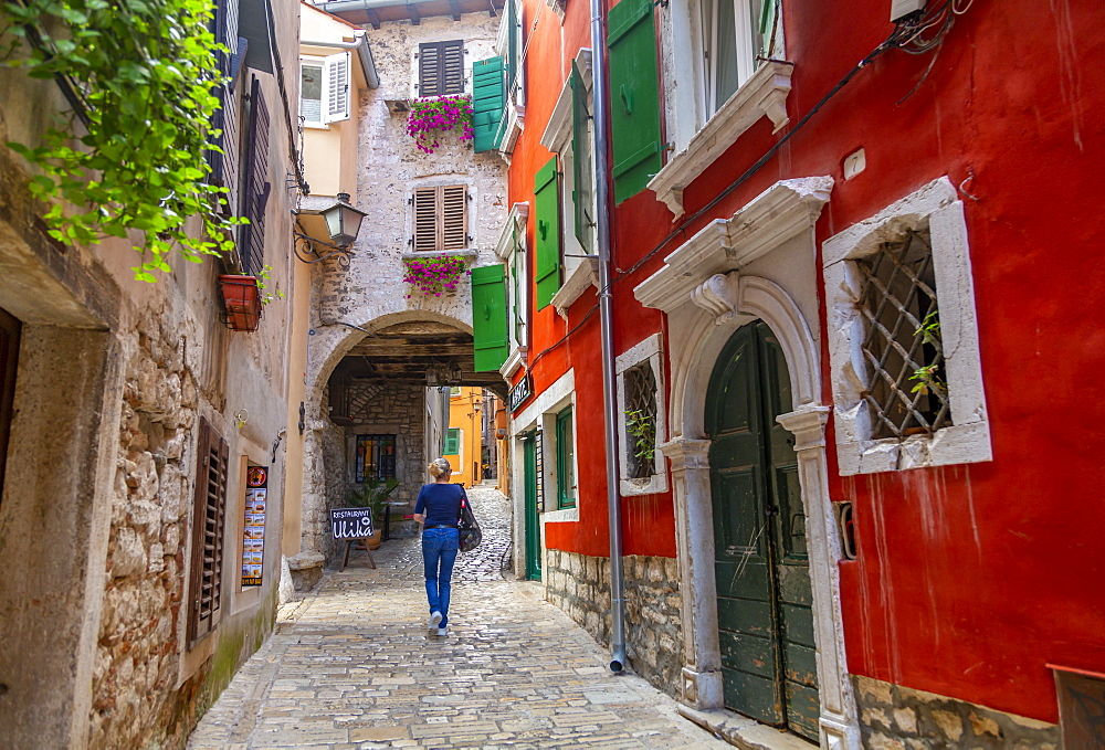 View of cobbled street in the Old Town of Rovinj, Croatian Adriatic Sea, Istria, Croatia, Europe - 844-21790