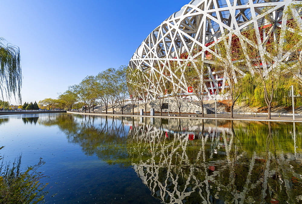 View of the National Stadium (Bird's Nest), Olympic Green, Xicheng, Beijing, People's Republic of China, Asia - 844-21853