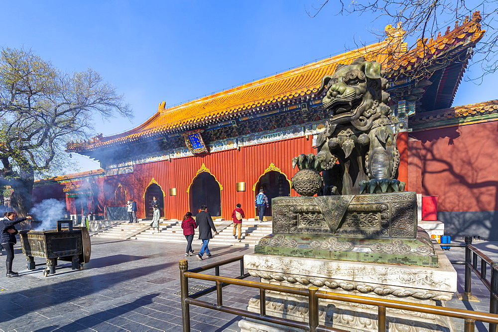 View of Ornate Tibetan Buddhist Lama Temple (Yonghe Temple), Dongcheng, Beijing, People's Republic of China, Asia - 844-21857