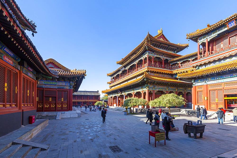 View of Ornate Tibetan Buddhist Lama Temple (Yonghe Temple), Dongcheng, Beijing, People's Republic of China, Asia - 844-21860