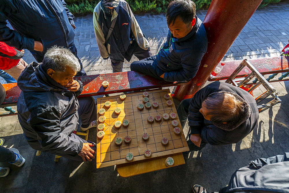 Locals playing board game in Gathering at the Ghost Corridor in the Temple of Heaven, Beijing, People's Republic of China, Asia - 844-21862