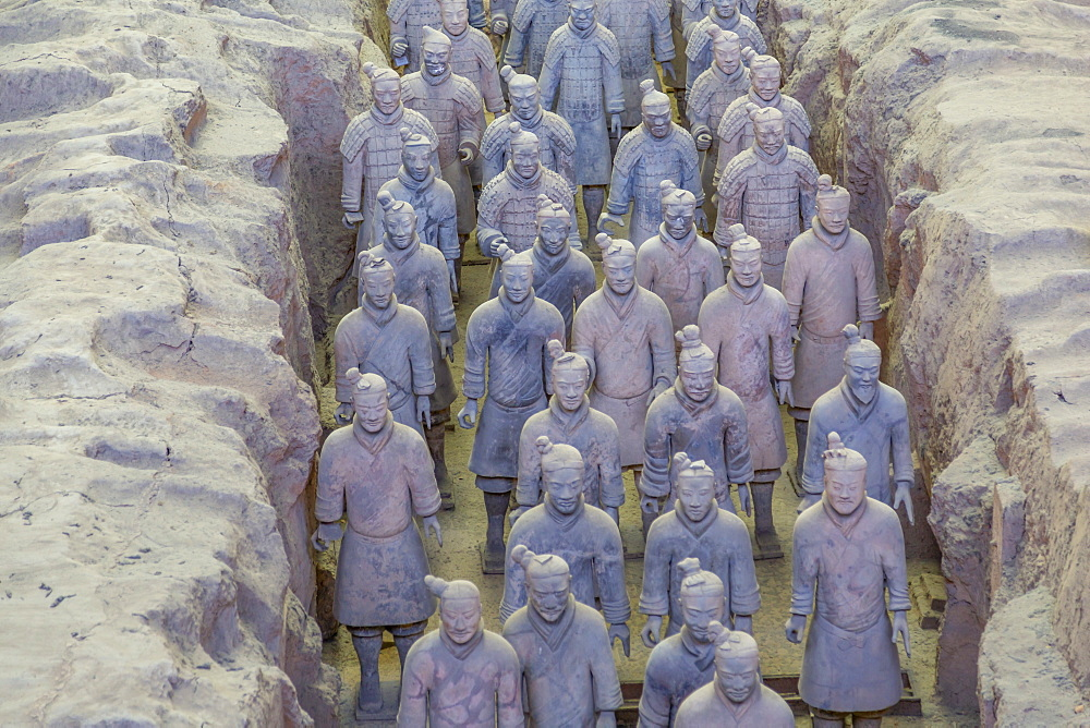 View of Terracotta Warriors in the Tomb Museum, Xi'an, Shaanxi Province, People's Republic of China, Asia