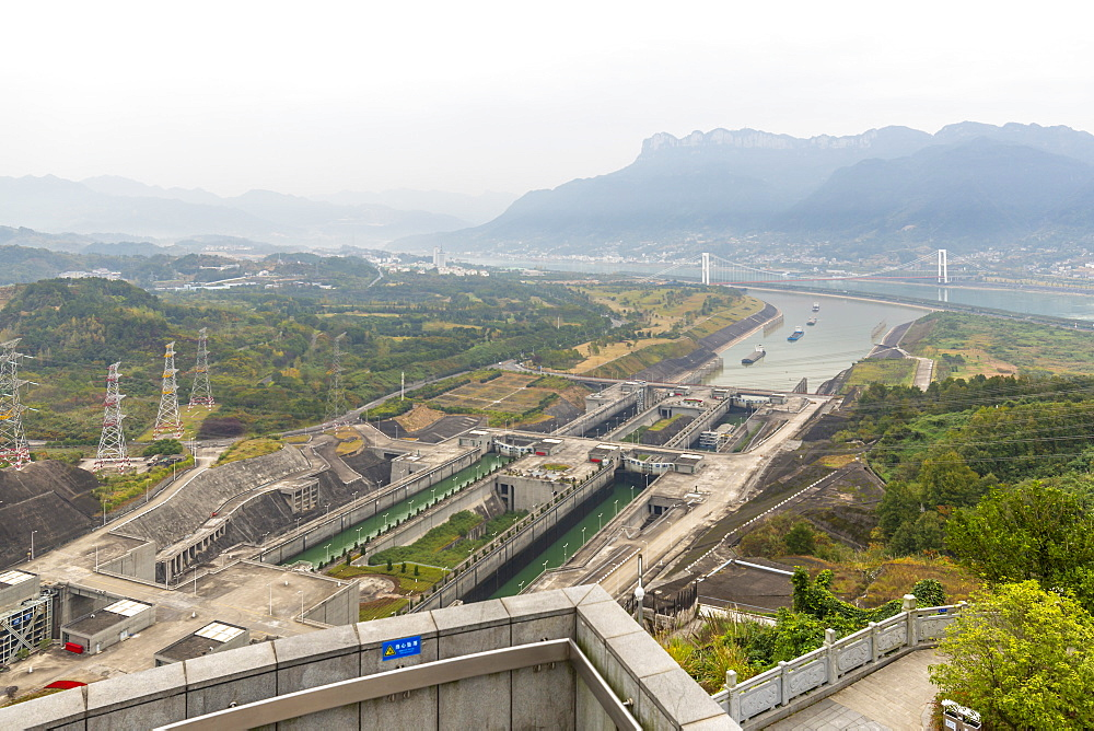 View of ship locks at The Three Gorges Dam at Sandouping, Sandouping, Hubei, China, Asia