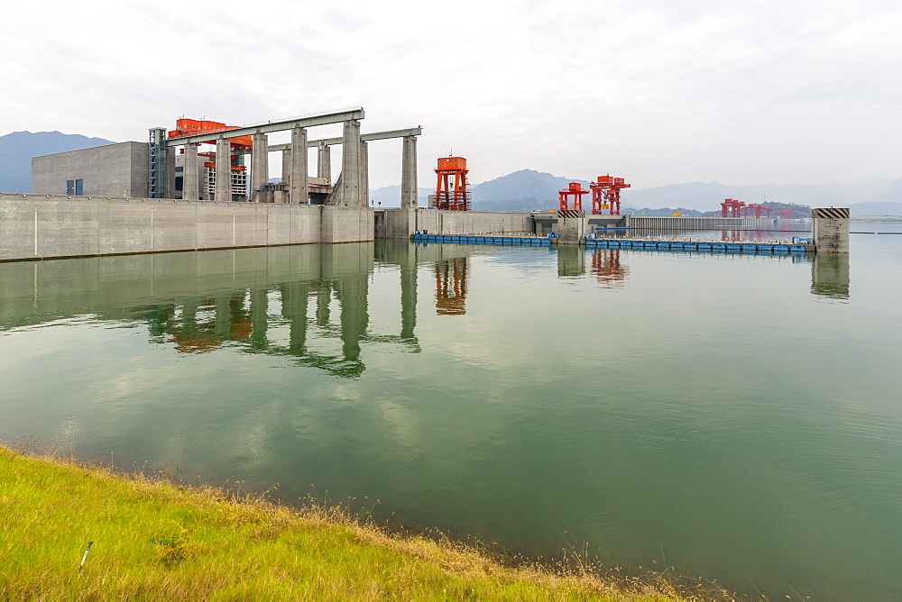 View of The Three Gorges Dam and visitors centre at Sandouping, Sandouping, Hubei, China, Asia
