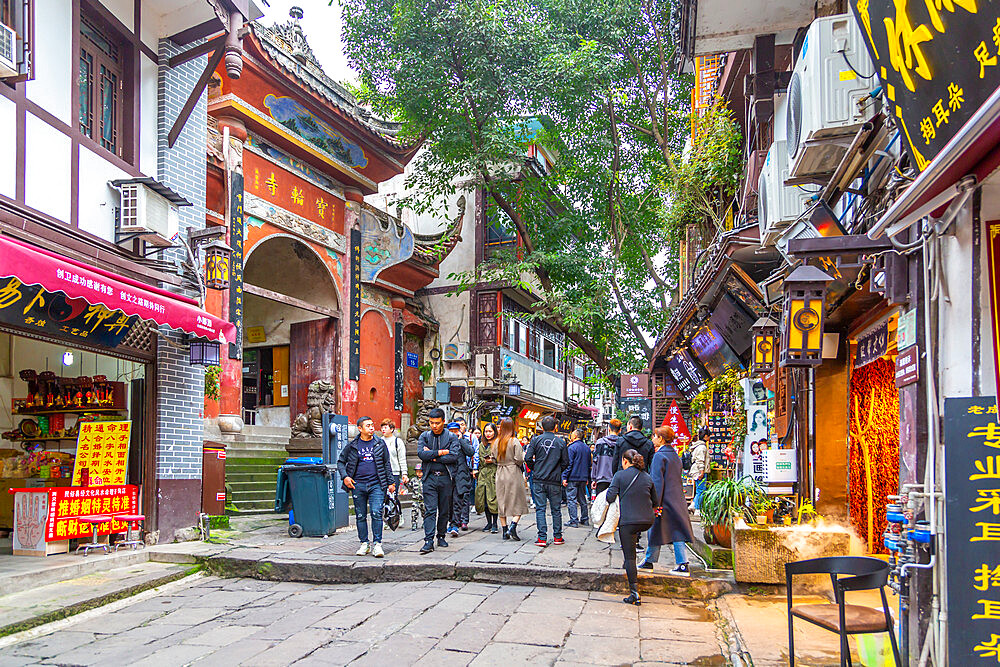 Busy shopping street in Ciqikou Old Town, Shapingba, Chongqing, China, Asia