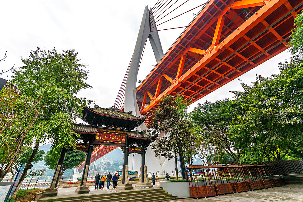 View of Masangxi Bridge and city urban architecture in Chongqing, Yuzhong District, China, Asia