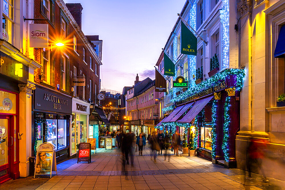 View of shops on Bedford Street at Christmas Norwich, Norfolk, East Anglia, England, United Kingdom, Europe