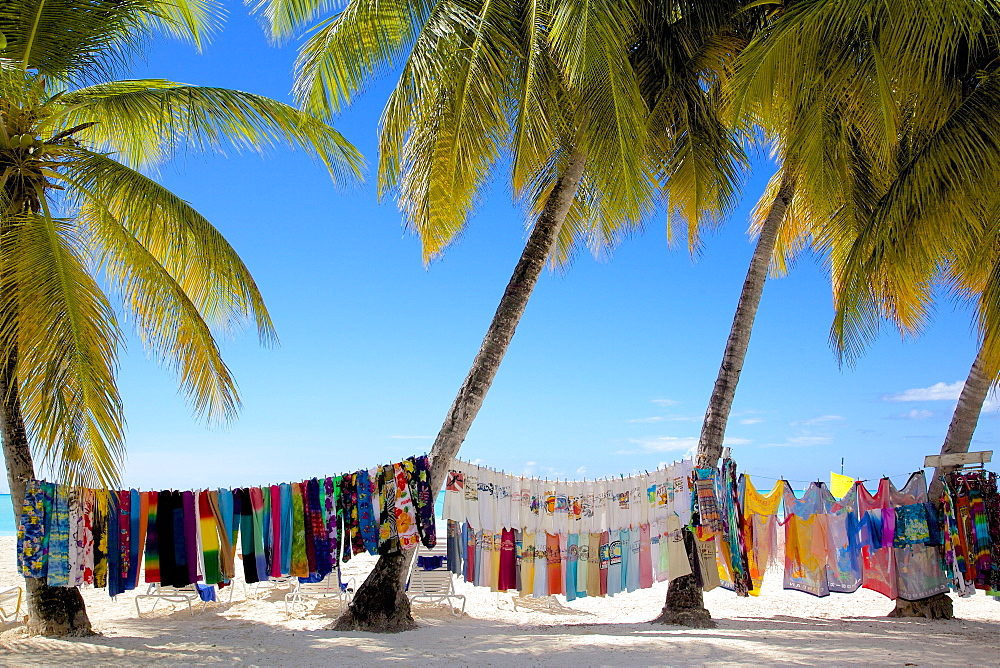 Beach and vendor's stall, Jolly Harbour, St. Mary, Antigua, Leeward Islands, West Indies, Caribbean, Central America