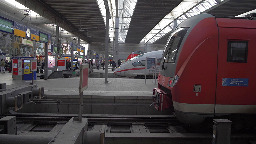 Train in station at Munich Central Station, Munich, Bavaria, Germany, Europe