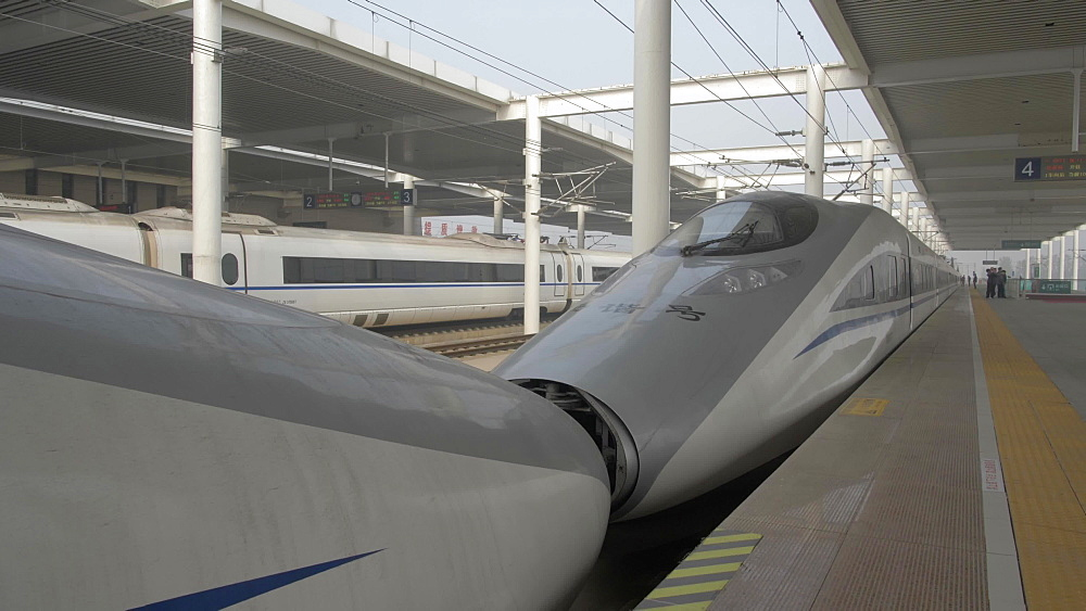 Bullet train in remote train station, Lianhu, Xi'an, Shaanxi, People's Republic of China, Asia