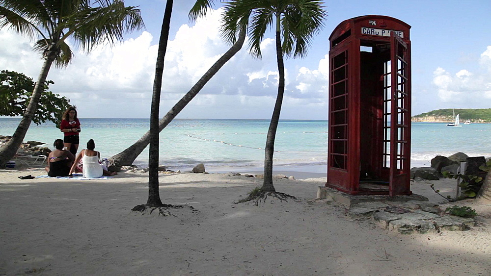 Telephone Box & Beach, Dickenson Bay, St Georges, Antigua & Barbuda, Carribean - 844-2369