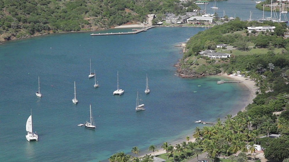 View over English Harbour, Shirley Heights, St Paul, Antigua and Barbuda, Caribbean - 844-2448