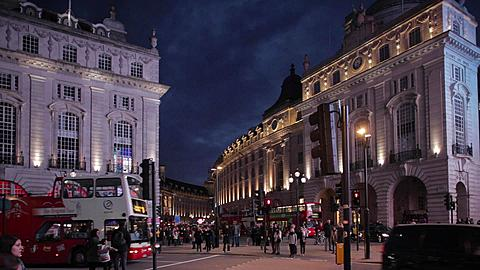 Piccadilly Circus at Dusk, City of Westminster, London, England, UK