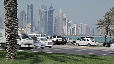 Corniche Traffic and City Skyline,  Doha, Qatar, Middle East