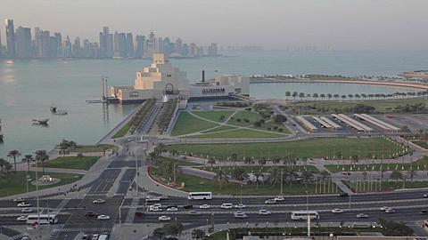 Traffic on The Corniche at Dusk, Doha, Qatar, Middle East