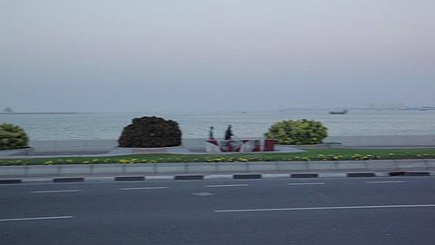 The Corniche Traffic at Dusk, Doha, Qatar, Middle East