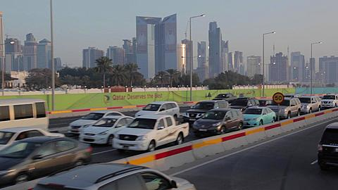 Traffic on outskirts of City, Doha, Qatar, Middle East