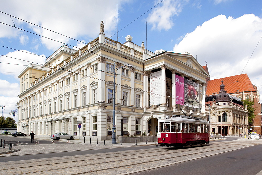 Opera House and city tram, Old Town, Wroclaw, Silesia, Poland, Europe