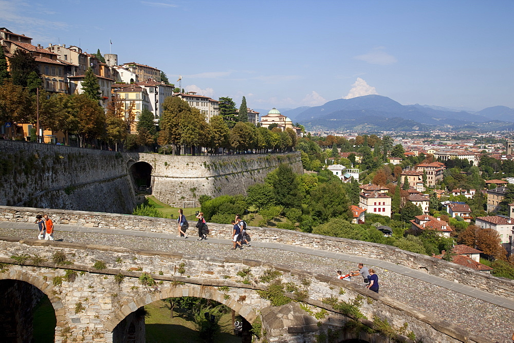 View of Lower Town from Upper Town Wall, Bergamo, Lombardy, Italy, Europe