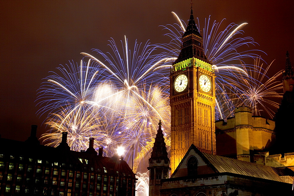 New Year fireworks and Big Ben, Houses of Parliament, Westminster, London, England, United Kingdom, Europe - 844-587