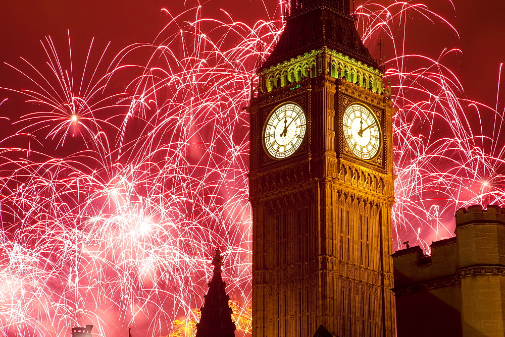 New Year fireworks and Big Ben, Houses of Parliament, Westminster, London, England, United Kingdom, Europe - 844-591