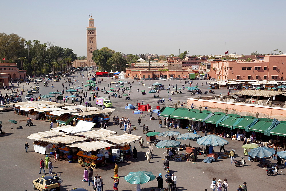 View over market square, Place Jemaa El Fna, Marrakesh, Morocco, North Africa, Africa