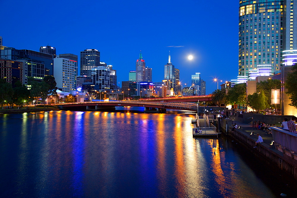 City Skyline from Southbank Promenade, Melbourne, Victoria, Australia, Oceania