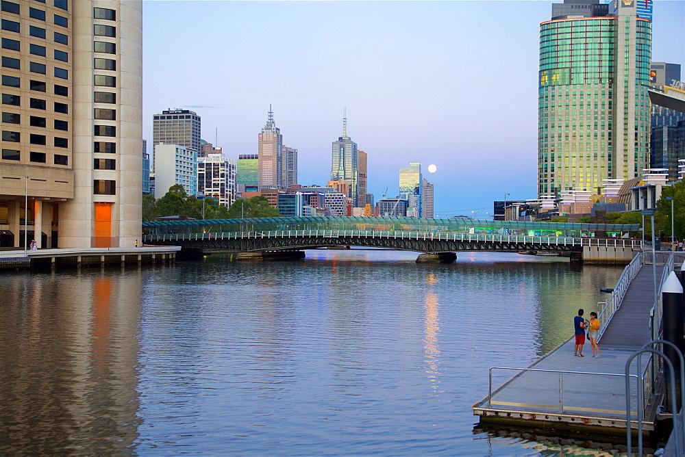 City Skyline from Southbank Promenade, Melbourne, Victoria, Australia, Oceania