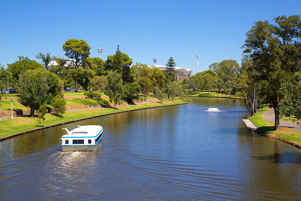 River Torrens and 'Popeye' boat from Foot Bridge, Adelaide, South Australia, Oceania