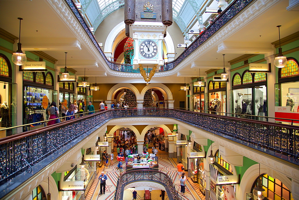 Queen Victoria Building Interior at Christmas, Sydney, New South Wales, Australia, Oceania