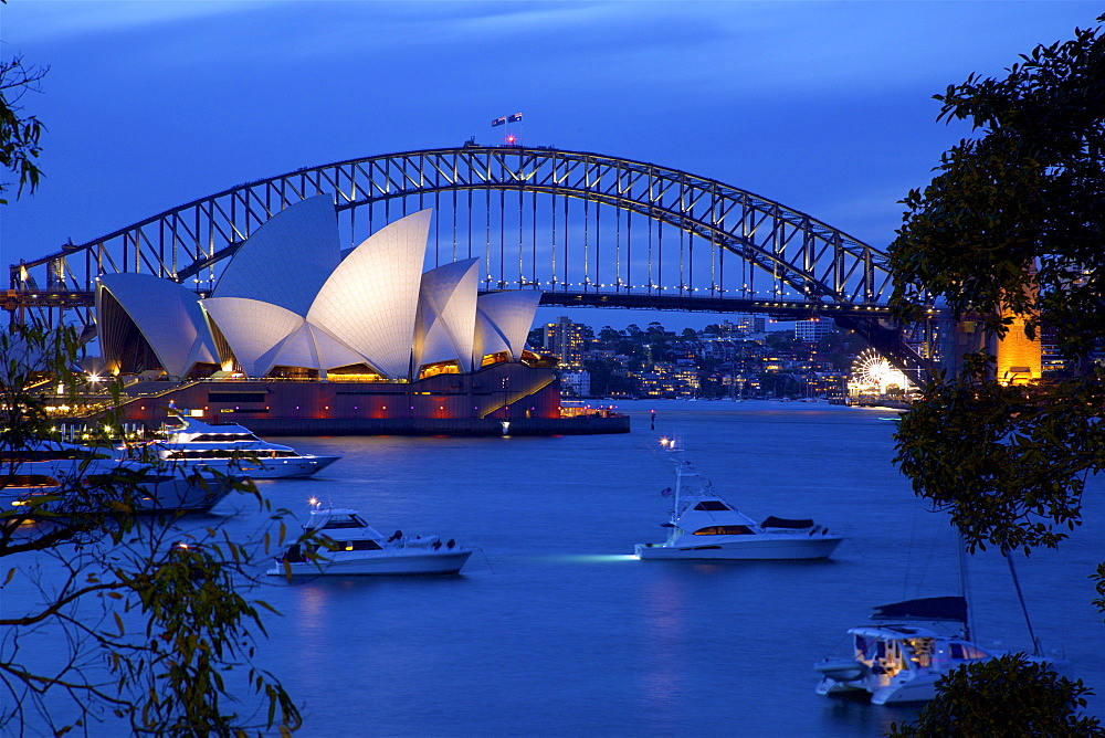 Opera House and Harbour Bridge from Mrs Macquarie's Chair at Dusk, Sydney, New South Wales, Australia, Oceania