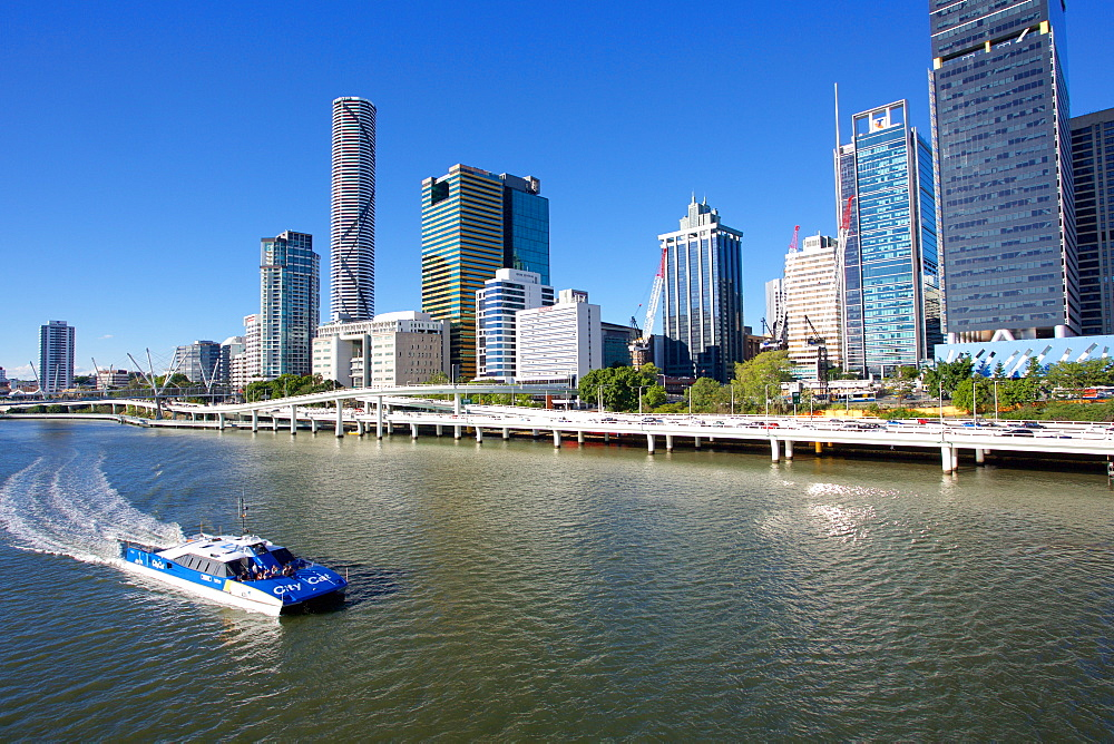 City Skyline from Victoria Bridge, Brisbane, Queensland, Australia, Oceania