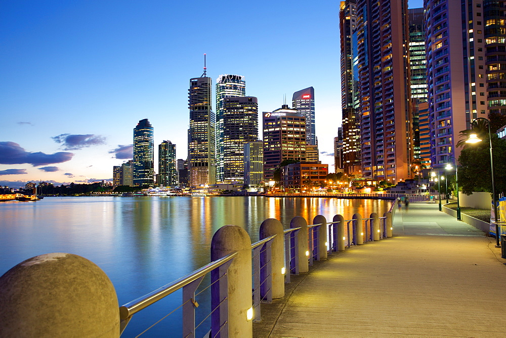 Brisbane River and City at Dusk, Brisbane, Queensland, Australia, Oceania