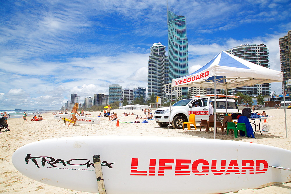 Surfers Paradise and Lifeguard Station, Gold Coast, Brisbane, Queensland, Australia, Oceania