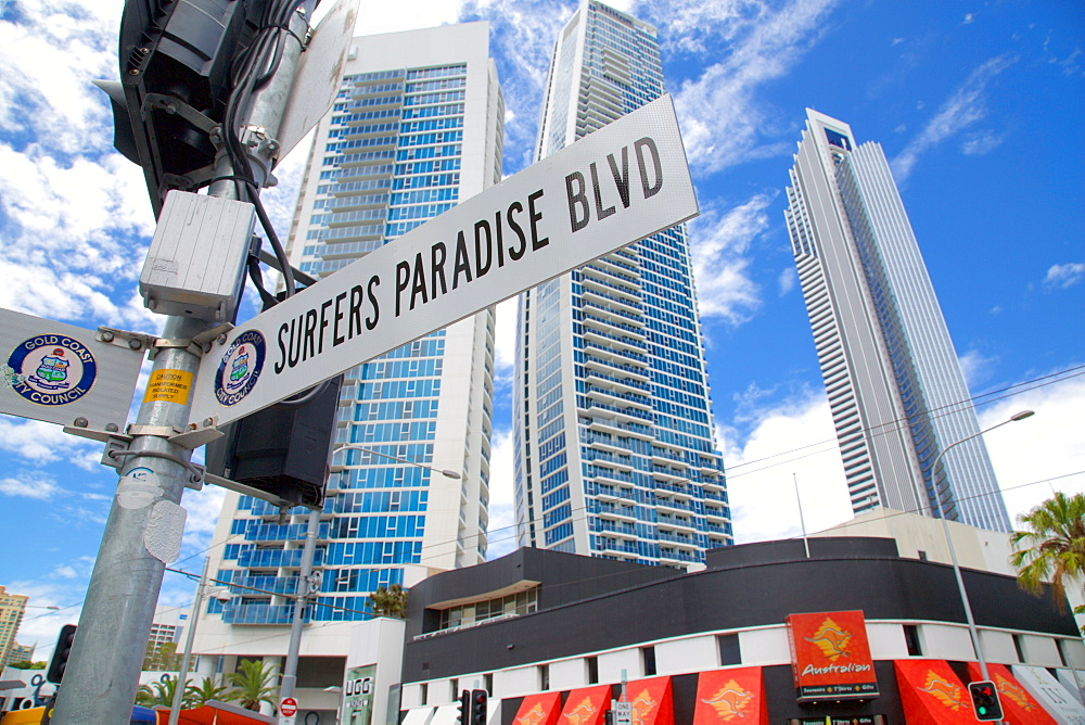 Surfers Paradise Boulevard Sign, Gold Coast, Queensland, Australia, Oceania