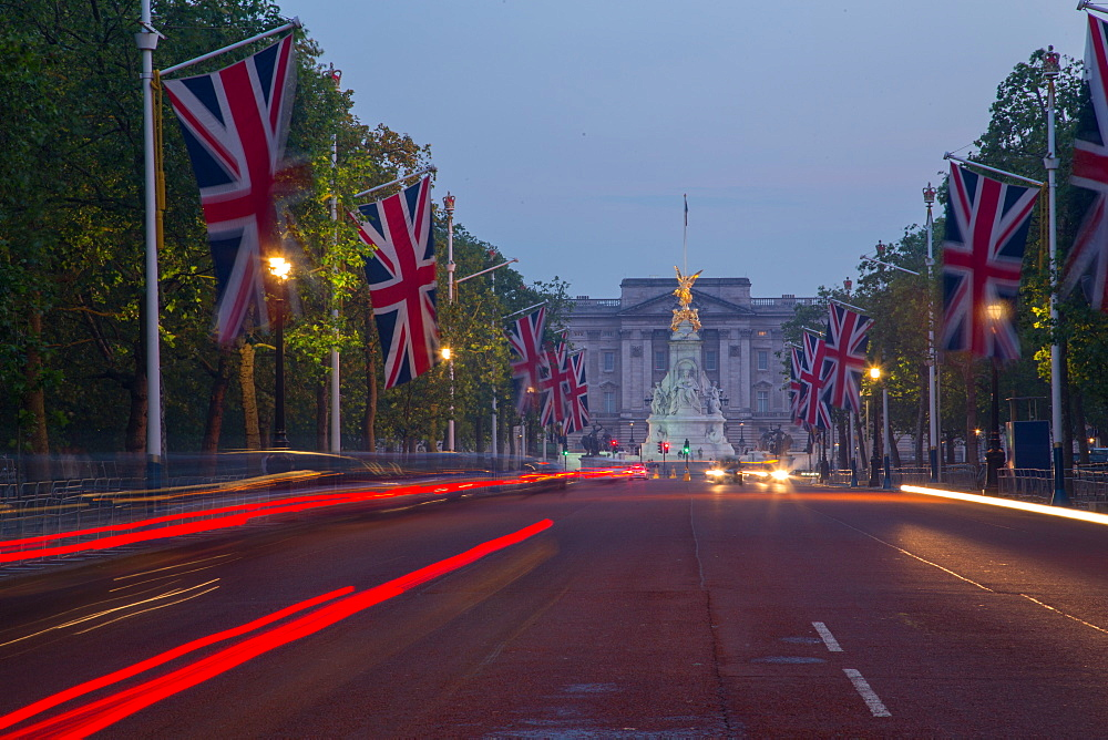 Union Jacks on The Mall, Buckingham Palace, London, England, United Kingdom, Europe - 844-8925