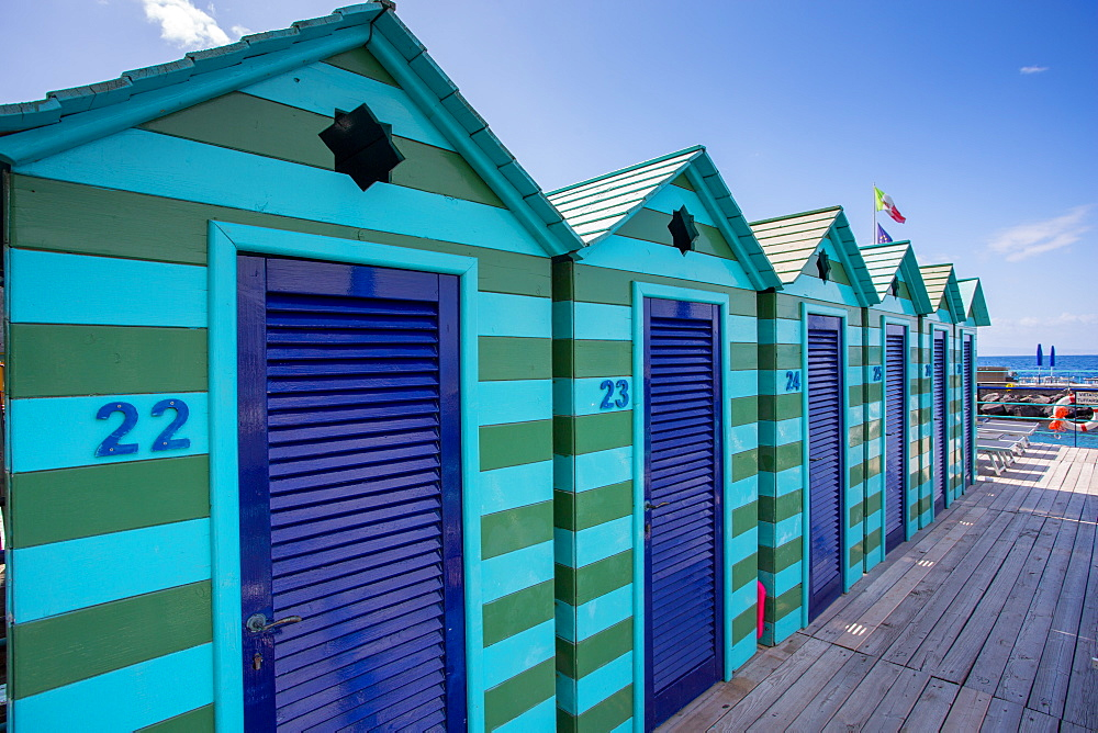 Beach Huts, Marina Piccola, Sorrento, Campania, Italy, Europe