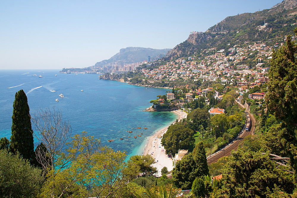 View toward Monaco from Roquebrune-Cap-Martin, Cote d'Azur, Provence, French Riviera, France, Mediterranean, Europe