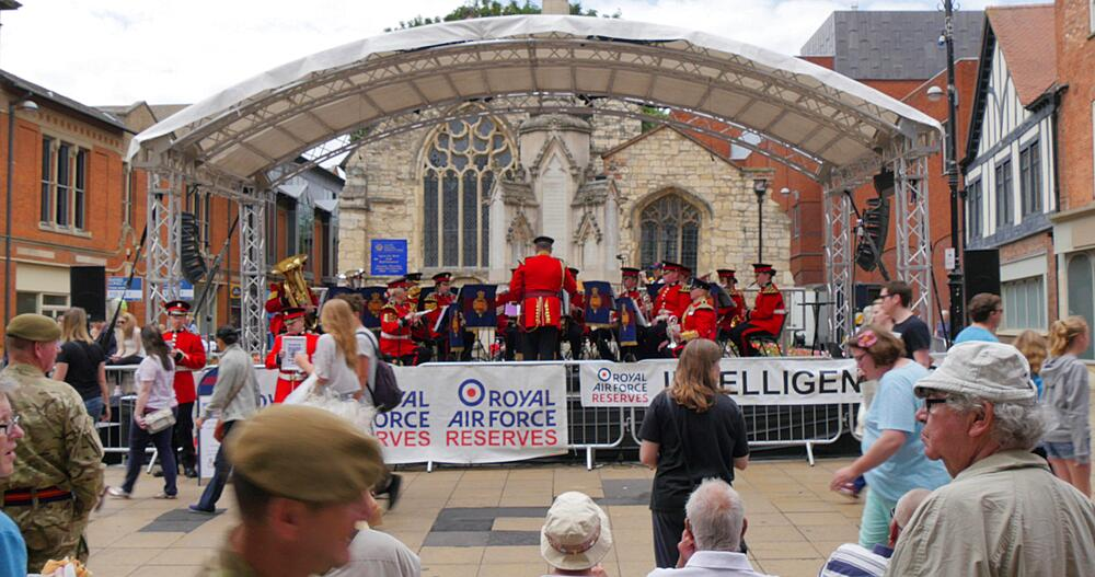 Brass Band Playing on High Street, Lincoln, Lincolnshire, England, UK, Europe