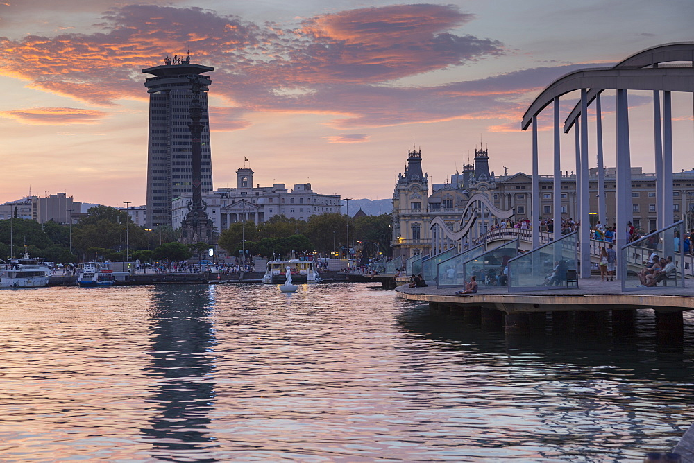 Port Vell at sunset, Barcelona, Catalonia, Spain, Europe