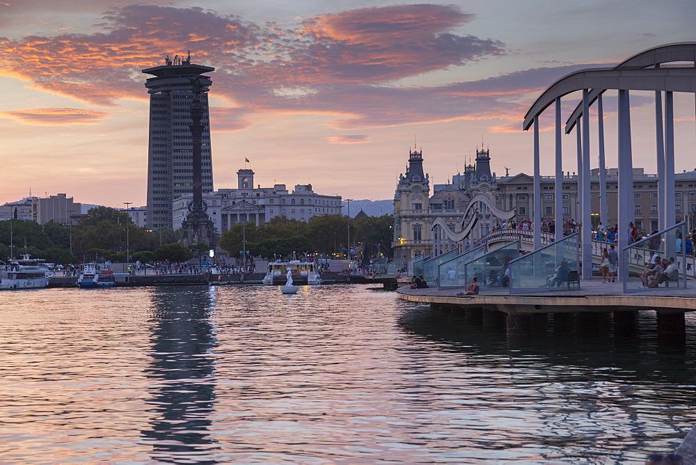 Port Vell at sunset, Barcelona, Caltaluya, Spain, Europe