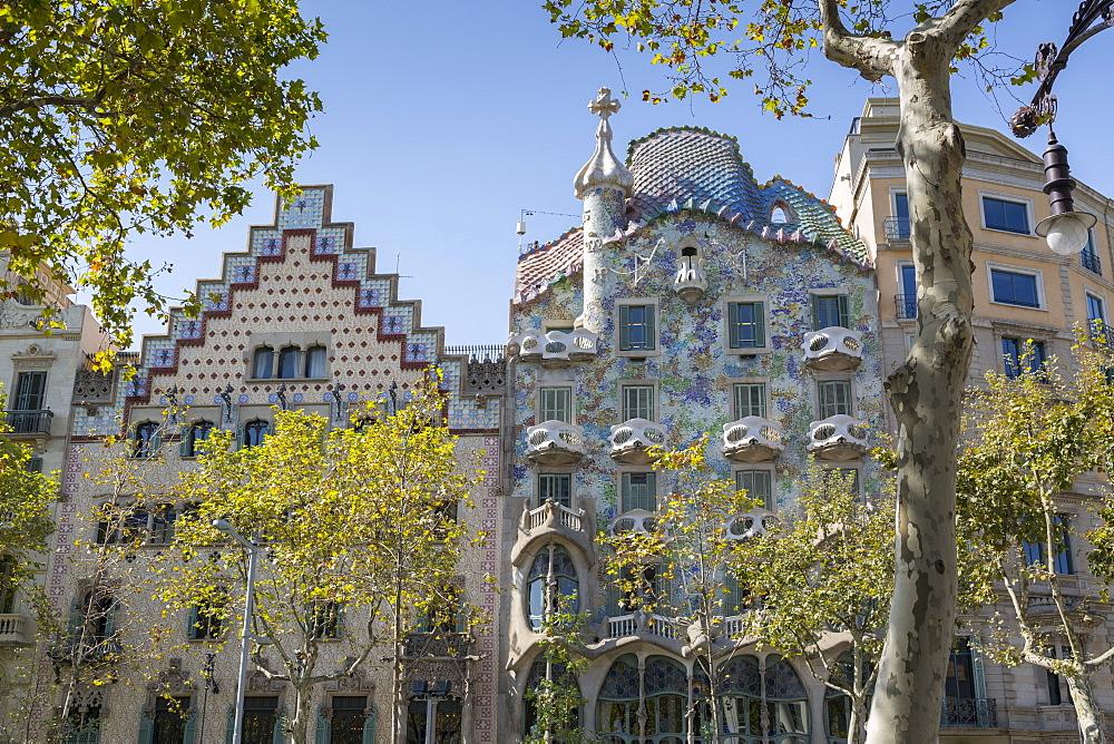 Antoni Gaudi's Casa Batllo building, UNESCO World Heritage Site, Barcelona, Catalonia, Spain, Europe