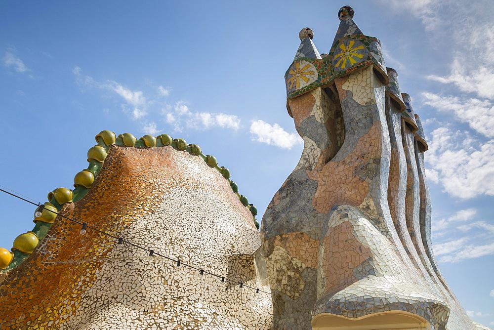 Rooftop of Antoni Gaudi's Casa Batllo building, UNESCO World Heritage Site, Barcelona, Catalonia, Spain, Europe