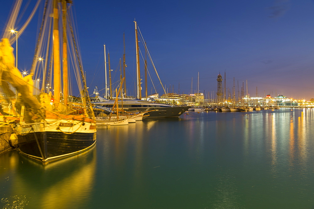Port Vell at dusk , Barcelona, Catalonia, Spain, Europe